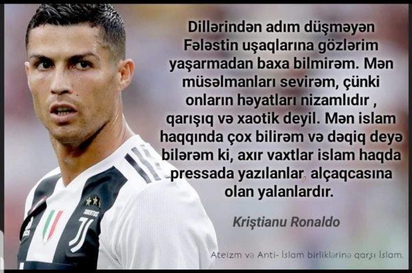 Ronaldonun karantin zamanı Quran oxuması xəbərləri yayılıb