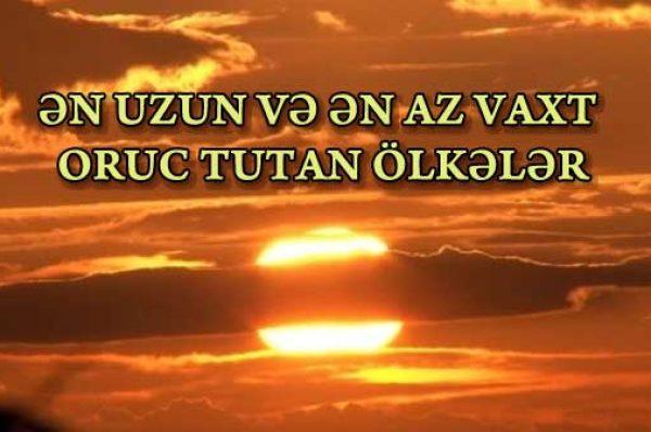 ƏN UZUN VƏ ƏN AZ VAXT ORUC TUTAN ÖLKƏLƏR